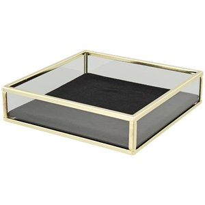 Decoratie tray / dienblad met velvet KENZO - Goud / Zwart - 15 x 15 x 3.7 cm - Maat S